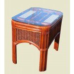Mariner Natural Rattan Wicker End Table  - BROWN WASH