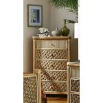 Nassau 5 Drawer Dresser with Glass Top - NATURAL