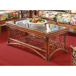 South Pacific Natural Rattan Cocktail Table - BROWN WASH