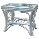 South Pacific Natural Rattan End Table - WHITE