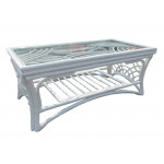 South Pacific Natural Rattan Cocktail Table - WHITE