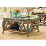 Victorian Wicker Cocktail Table - BROWN WASH