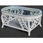 Victorian Wicker Cocktail Table - WHITE