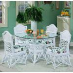 """5 Piece Victorian Wicker Dining Set 42"""" - WHITE"""