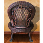 Country Natural Rattan Framed Wicker Rocker - REAR-VIEW