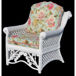 Victorian Natural Wicker Lounge Chair  - WHITE